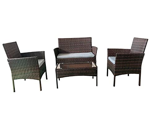 SHATCHI 4pcs Wicker Set of Two Seater Rattan Sofa, Table and 2 Chairs Indoor/Outdoor Garden Furniture Patio Conservatory
