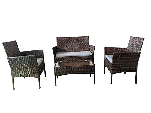 SHATCHI Rattan-Sofa, Tisch und 2 Stühle, für Innen-und Außenbereich, 4-teiliges Set