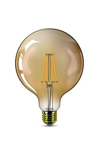 Philips Bombilla LED cristal 50 W globo E27, luz blanca cálida, efecto llama