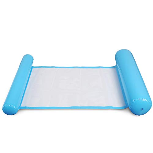 Jixista Wasserhängematte Schwimmendes Bett Aufblasbares Schwimmbett Ultrabequeme Wasser Hängematte Wasser Luftmatratze Schwimmliege Wasserliege Swimmingpool luftbett für Erwachsene (Blau)