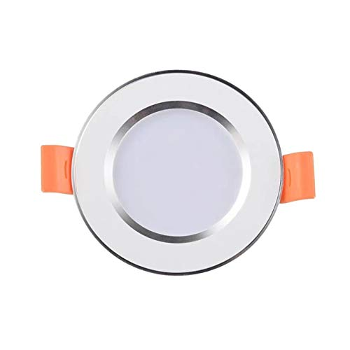 RongWang Downlight LED empotrable ultra delgado plateado blanco dorado LED lámpara de techo 3W 5W 9W LED foco de iluminación para sala de estar dormitorio (color: plata, tamaño: blanco)