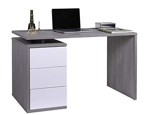 Amazon Marke - Movian - Schreibtisch mit 3 Schubladen, 120 x 74 x 60cm, Eiche/Hochglanz Weiß