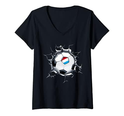 Mujer Luxemburgo Fútbol en Pared Agrietada Bandera De Luxemburgo Camiseta Cuello V