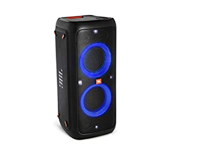 JBL PartyBox 300 Rechargeable Bluetooth Party Boombox Speaker – High Power Audio System with Light Effects and Mic/Guitar inputs – in Black – with Neon Multicolour Lighting by JBL