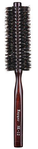 Brosse à cheveux ronde en poils de sanglier, brosse ç cheveux avec poingée ergonomique en bois naturel, 2.5 cm, pour le séchage, le frisage, l'ajout de volume et le massage du cuir chevelu.