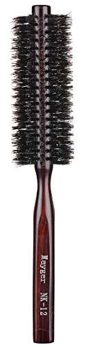 Boar Bristle Round Brush, Hair Brush with Ergonomic Natural Wood Handle, 1.3 inch, for Hair Drying, Styling, Curling, Adding Hair Volume