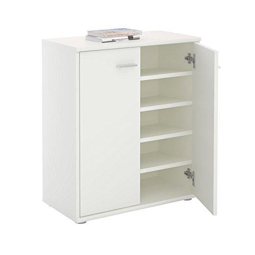 CARO-Möbel Schuhschrank LENNIS Schuhregal Schuhkommode mit 2 Türen und inklusive 4 Einlegeböden, in weiß