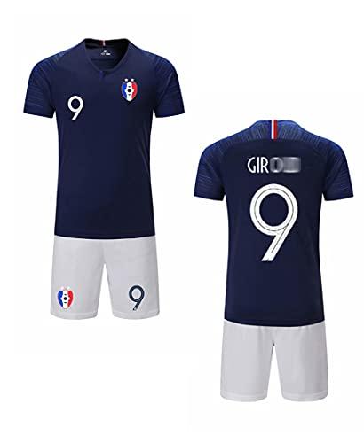 Zigjoy - Camiseta de fútbol para niños de Francia Soccer 2018 de la Copa del Mundo de Francia con 2 estrellas de fútbol, camiseta y pantalones cortos, Niños, GIROUD-9-Bleu, T26(taille 140-155cm)
