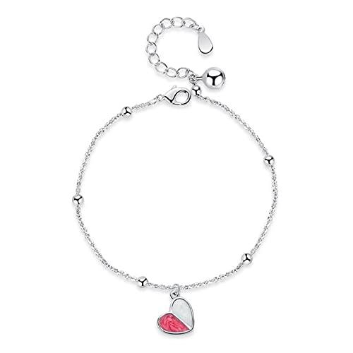 DJMJHG Pulsera de Plata de Ley 925, joyería de Moda para Mujer, Pulsera de Cristal en Forma de corazón Rosa Retro, Longitud 21,5 cm