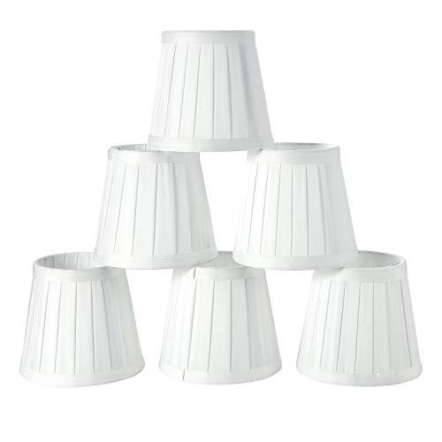 Fuloon Set di 6 Paralume in Tessuto, Moderna Coprilampada Tessuto Piccolo per Candela Lampadario di Cristallo Lampada da Parete