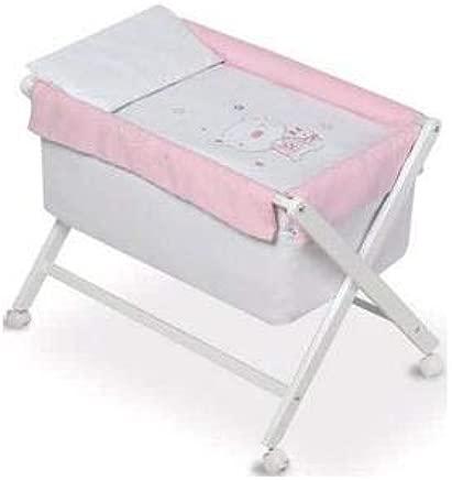 pirulos 29007798 nbsp   nbsp minicuna Folding Scissors Linen Design Bear Star  68 nbsp x 90 nbsp X71 nbsp cm  White Pink