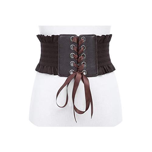 Vrouwen stretch riem kwastjes elastische gesp brede jurk korset tailleband-maat