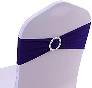 50PCS Spandex Chair Sashes Bows Elastic Chair Bands with Buckle Slider Sashes Bows for Wedding Decorations (Dark Purple)