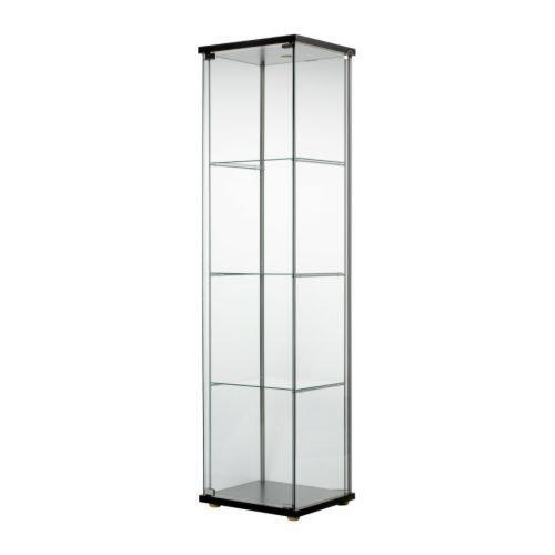 IKEA(イケア) DETOLF ブラックブラウン 70182172 ガラス扉キャビネット、ブラックブラウン