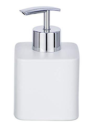 Wenko Dispenser di sapone Hexa Dispenser Dosatore dispenser per sapone liquido, Capacità 0.29L, Ceramica, Bianco, 8.5x 7.5x 13cm