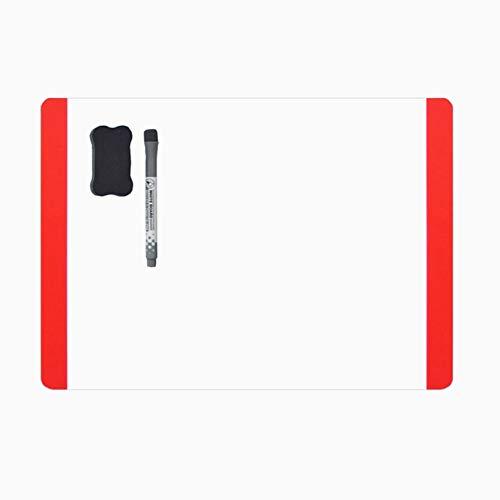 Villexun A4 Droog Veeg Wit Magnetisch Whiteboard Memo Board Koelkast Magneet Opmerking Flexibele Grote Schema whiteboard notitiebord notitiebord met whiteboard marker voor FRIDGE DOOR (Brede kant) (rood)
