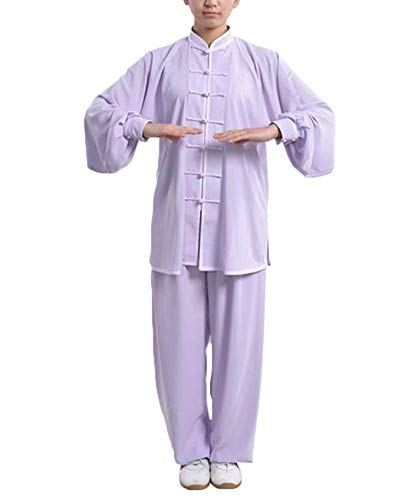 Kampfsport Bekleidung Unisex Erwachsener Trainingsbekleidung Sets - Chinesisch Traditionell Tai Chi Männer Shaolin Kung Fu Kleidung Frauen Wing Chun Baumwolle Anzüge Performance Kostüme Violett L