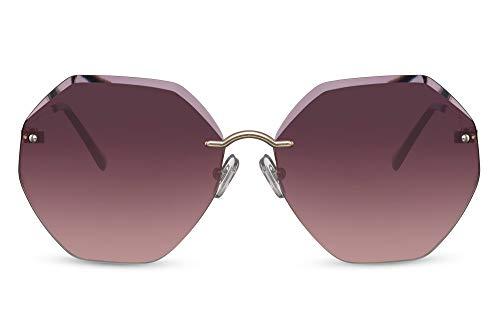Cheapass Sunglasses - Gafas de sol doradas, de Metálicas octogonal, sin marco, sin montura, gradiente oscuro, lentes con protección UV400 para mujer