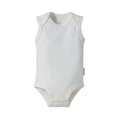 Bornino GOTS Body ohne Arm - ärmelloser Babybody mit Schlupfkragen & Druckknöpfen im Schritt - Interlock-Qualität aus reiner Bio-Baumwolle - weiß
