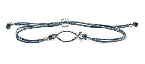 Milosa SchmuckDesigns Armband für Mädchen zur Konfirmation, grau, Firmung, Kommunion, Ichthys Fisch, Textil Stoff Armband (größenverstellbar)