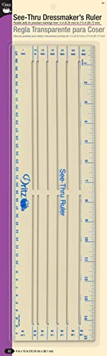 Dritz See-Thru Dressmakers Sewing Ruler, Clear