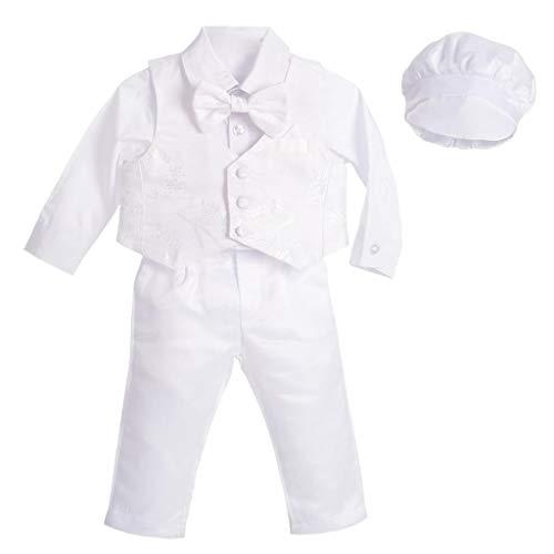 Lito Angels Baby Jungen Taufkleidung Taufanzug, 5 Teiliges Weißer Anzug mit Jacquard Weste und Taufhaube zur Taufe, Größe 18-24 Monate 92