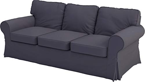 Heavy Cotton Replacement Sofa Cover That Fits IKEA Ektorp 3 Seat Sofa, Custom Made Slipcover. Cover Only (Dark Gray Dense Cotton)