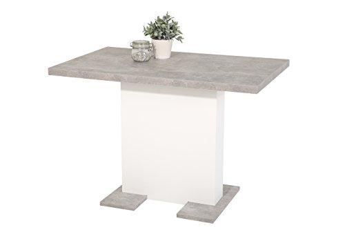 Säulenesstisch Britt, Holzwekstoff Dekor Betonoptik-Weiß, ausziehbar, 110-150x69x76 cm