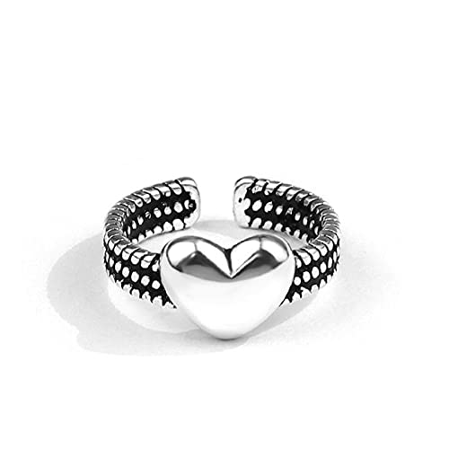SHENSHI Anillos Mujer,Anillos Ajustables,Retro Sweet Heart Romance 925 Sterling Silver Fashion Temperament Sweet Anillos para Mujer,Plata,Talla Única
