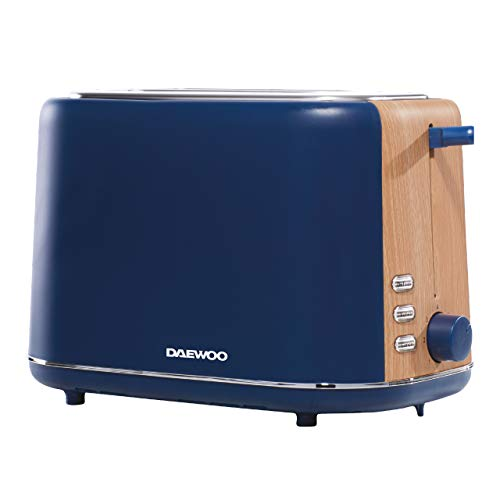 Daewoo Stockholm 2 Slice Matte Finish Wood Effect Toaster | Cancel, Defrost & Reheat Functions | 6 Time Settings | Self Centre Function | Bread Size 12cm x 12cm - Slide Out Crumb Tray | 800W - Navy