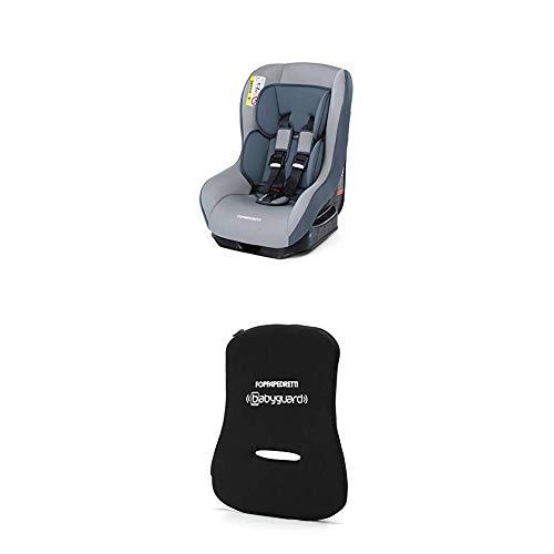 Foppapedretti Go! Evolution Seggiolino Auto, Gruppo 0/1 (0-18 Kg) per Bambini dalla Nascita Fino a 4 Anni Circa, Grigio (Argento) + Dispositivo Antiabbandono, Nero