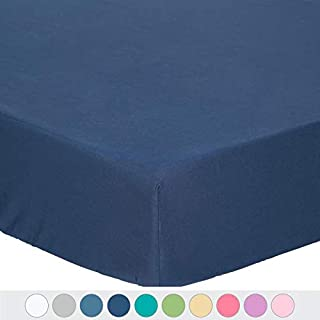 TILLYOU Microfiber Silky Soft Crib Sheet Navy, All Seasons Fitted Toddler Mattress..