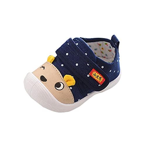 Zapatos para bebé de 6 a 12 meses, zapatos para aprender a andar, zapatos para niños pequeños, zapatos con cierre de velcro, suela suave, antideslizantes., azul oscuro, 20