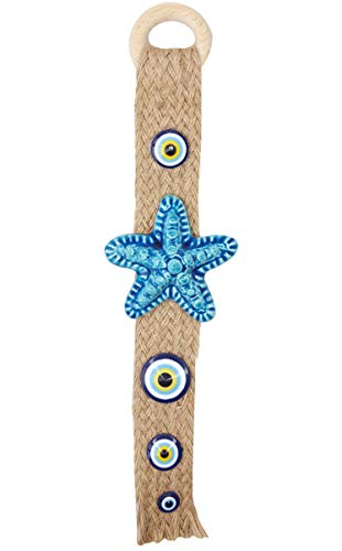 Ceramic Starfish with Glass Evil Eye Bead On Wicker Wall Hanging Decor - Nazar Boncuk Amulet and Blessing Charm - Wall Art Talisman and Good Luck - Home Office and Housewarming Gift