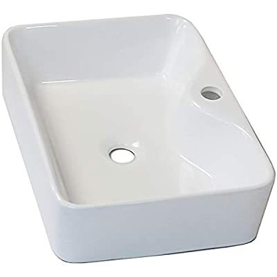 """Rectangle Vessel Sink with Faucet Hole, Mocoloo 16""""x12"""" White Ceramic Countertop Bathroom Vanity Sink Basin, Above Counter Installation Porcelain Lavatory Sink."""