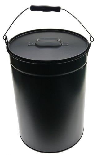 Ascheeimer Eimer mit Deckel schwarz