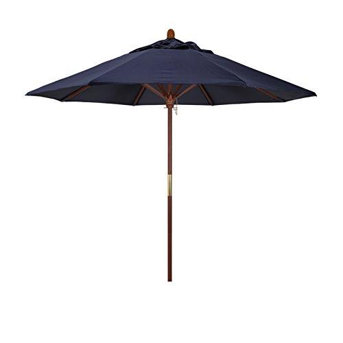 California Umbrella 9' Rd. Wooden Market Umbrella, Push Open Pin Stop , Sunbrella Navy