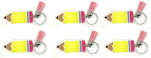 Daisy Lane Teacher Gift for Women Bulk, Acrylic Plastic Keychain with Tassle - Set of 6 (Pencil)