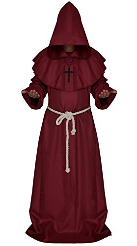 Costume for The Medieval Monks Priest Robe Hooded Cosplay Various Styles (X-Large, Red)