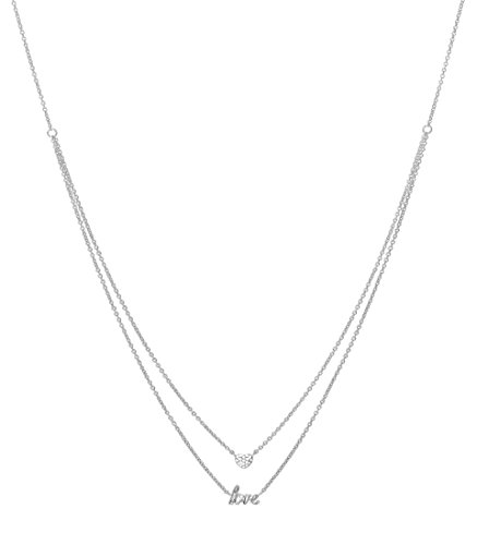 Esprit Damen-Erbskette JW52882 Messing rhodiniert Zirkonia weiß Rundschliff 42 cm - ESNL03448A420