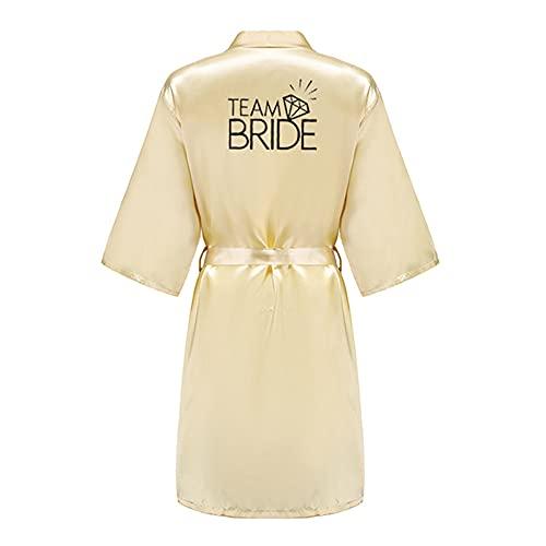 IAMZHL Equipo de Fiesta de Boda Traje de Novia con Letras Negras Kimono Pijama de satén Dama de Honor Rosa Dorado Albornoz Rosa-a38-XXXL