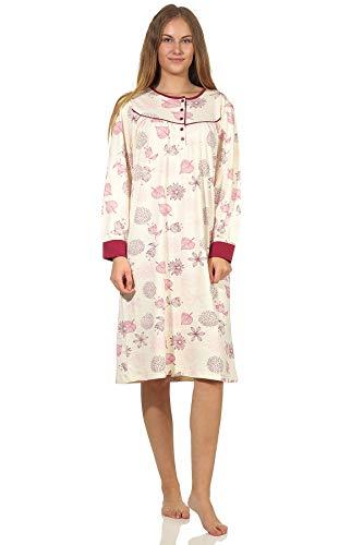 NORMANN-Wäschefabrik Edles Damen Nachthemd in Kuschelinterlock-Qualität - auch in Übergrössen - 202 210 96 105, Farbe:Creme, Größe:40/42