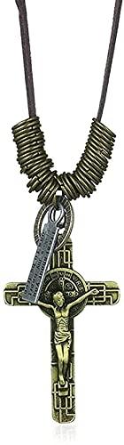 Yiffshunl Collar de Moda Retro Jesús Cruz Collar Colgante joyería Hombres Collar de Cuerda de Cuero Cadena de Cuentas largas círculos de Bronce