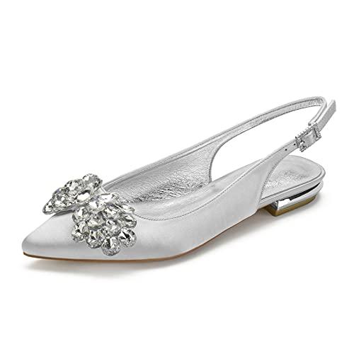 MNVOA Zapatos De Novia Sandalias Planas De Boda De Diamantes De Imitación...