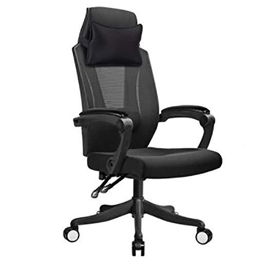 Slaapkamerstoel, kantelbaar, voor computer, werkstoel, ergonomisch, verstelbaar, synchroonmechanisme, skeletiek, met lendensteun, bureaustoel, netweefsel, gewicht 130 kg (kleur: zwart) zwart.