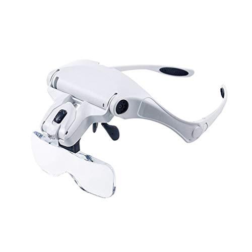 5 Lens Loupe Eyewear Vergrootglas met Led Lights Verwisselbare Lens 1.0X/1.5X/2.0X/2.5X/3.5X Het dragen van Vergrootglas