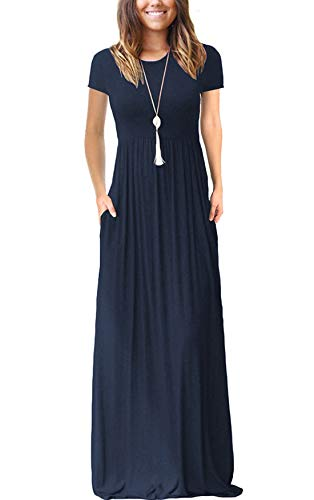 VIISHOW Women's Short Sleeve Loose Plain Maxi Dresses Casual Long Dresses with Pockets(Navy Blue, Small) (Apparel)