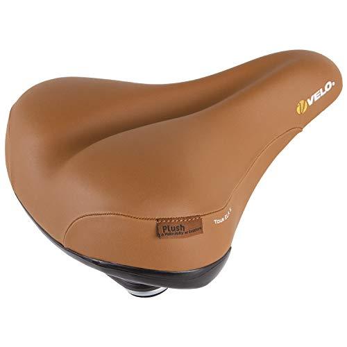 Velo Tour Ela X Sattel, Fahrradsattel, Touringsattel, ARC-TECH stoßabsorbierende Gestellfederung, stabile 2-Komponentenschale, Abriebschutz, inkl. Sattelklemmschelle, 260x220mm, braun