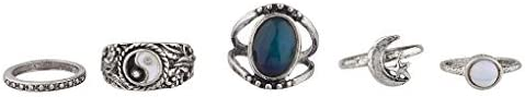LUX ACCESSORIES Ying Yang Mood Ring Set (5pc)