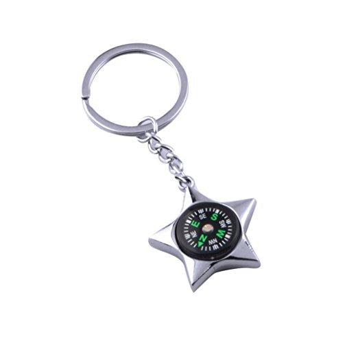 Gaddrt En plein air alliage portatif en argent de cinq branches étoile chaîne porte-clés, 1pc
